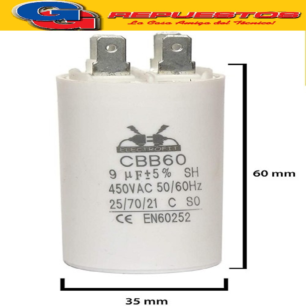 CAPACITOR 9 MF x 450V CBB60 4PIN