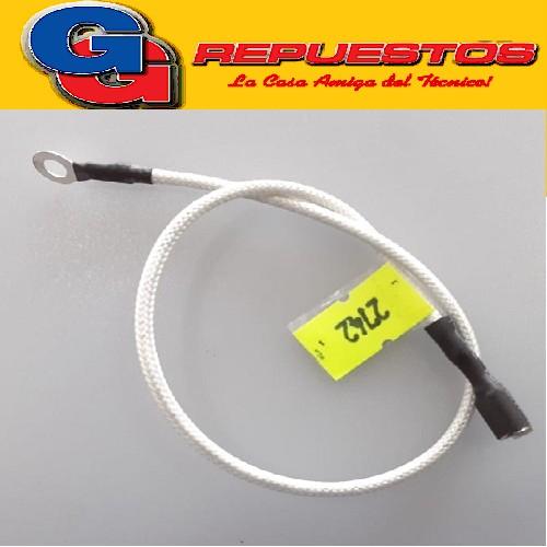 CABLE ALTA TEMPERATURA.TERMINAL OJAL PARA HORNO 4mm X TERMINAL OJAL 6.3mm 27 CM