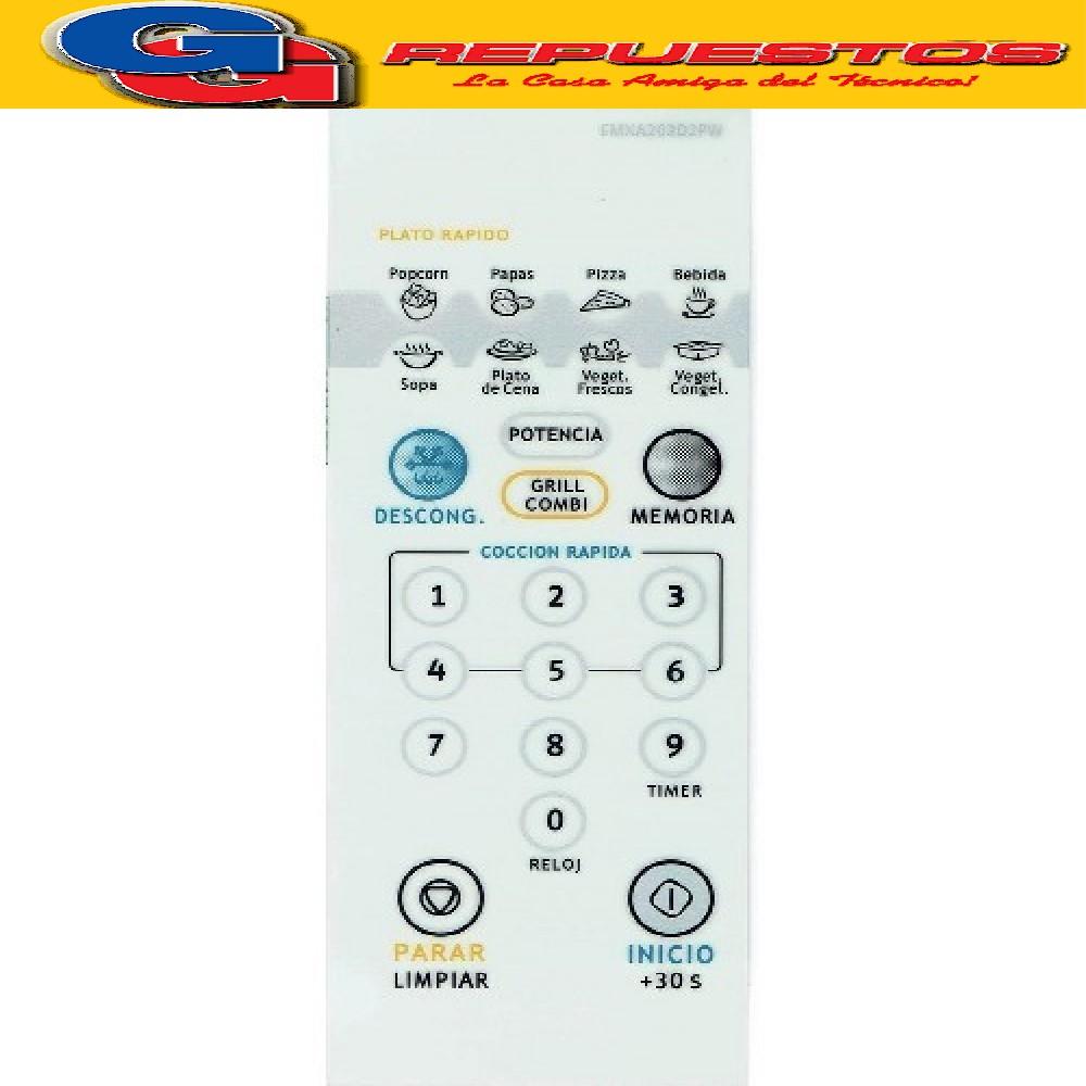 TECLADO MICROONDAS ELECTROLUX EMXA203D2PW ALTO 16,5 CM ANCHO 6,4 CM