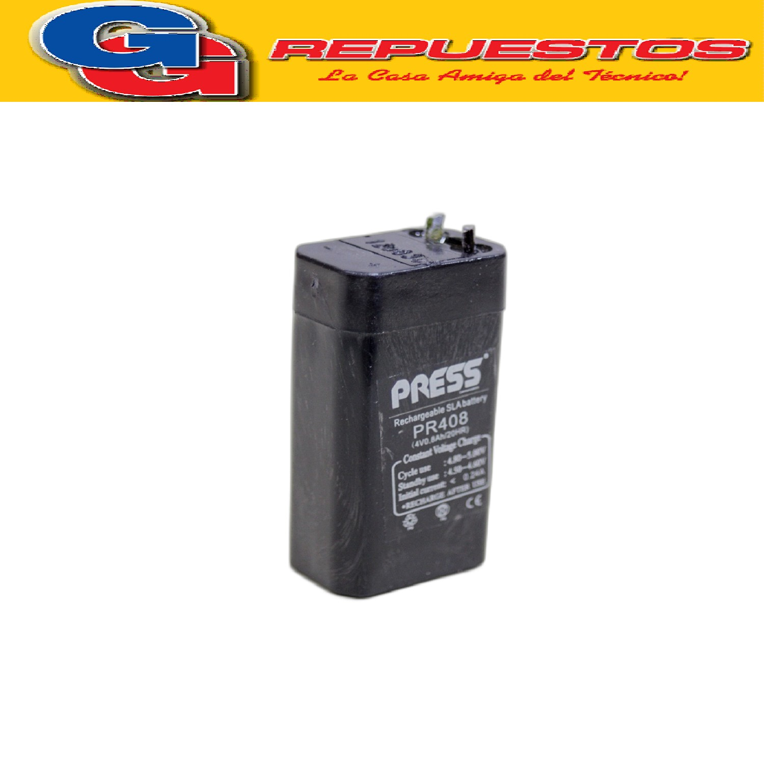 Bateria de Gel Recargable de 0.8A de capacidad y 4V. Marca PRESS 0.8A 4V Largo:22 MM - Ancho:22 MM - Altura:60 MM - Tipo de conector: cables -