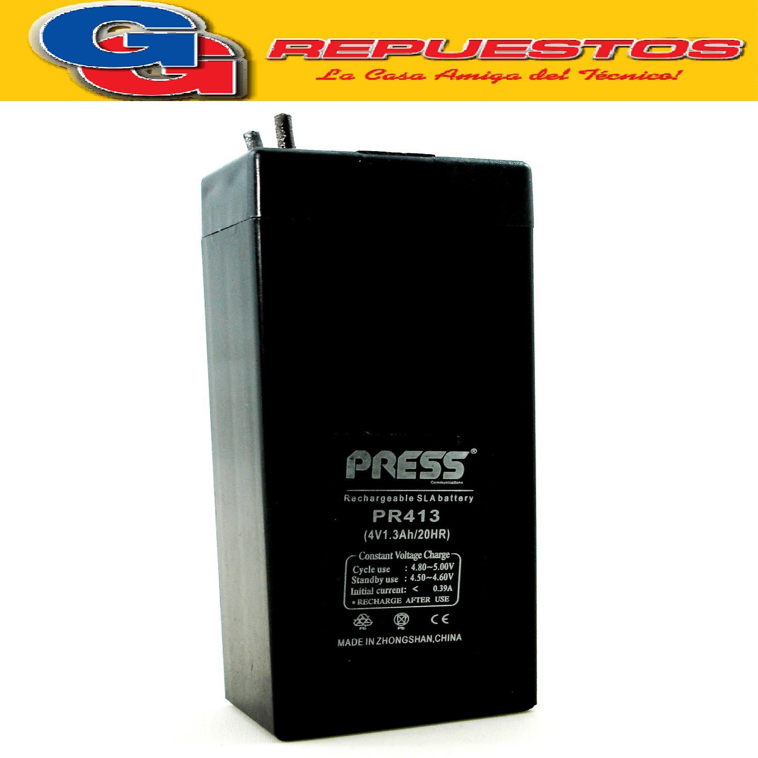 Bateria de Gel Recargable de 1.3A de capacidad y 4V. Marca PRESS 1.3A 4V Largo:35 MM - Ancho:22 MM - Altura:90 MM - Tipo de conector: cables