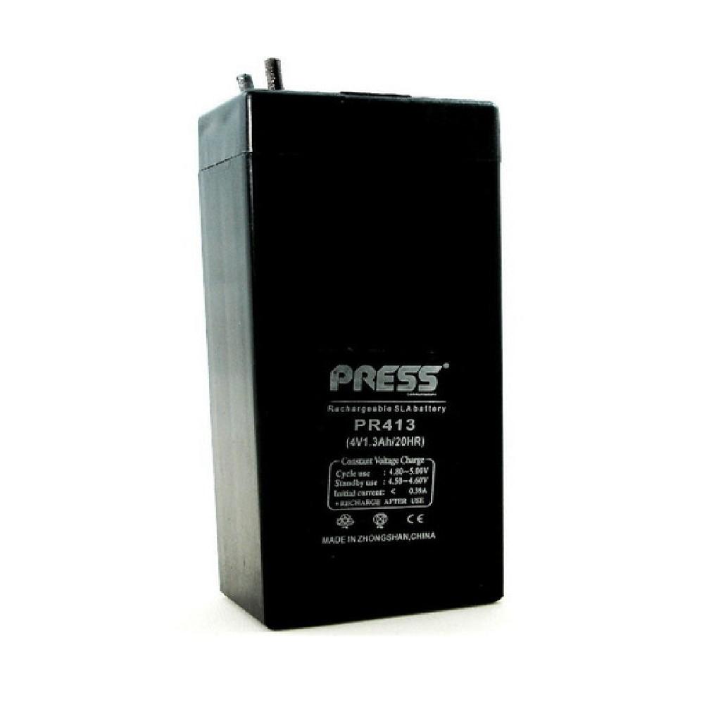 Bateria de Gel Recargable de 1.3A de capacidad y 4V. Marca PRESS 1.3A 4V Largo:35 MM - Ancho:22 MM - Altura:90 MM - Tipo de conector: cables