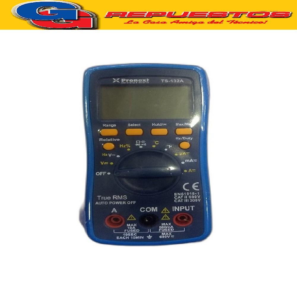 TESTER AUTORANGO TS 132A Utiliza 3 pilas AAA (no Incluidas) Mediciones y Rangos: DCV: 400m-4-40-400-600V ±0.5% ACV: 400m-4-40-400-600V ±1.0% DCA: 40u-400u-4m-40m-400m-4-10A ±1.8% ACA: 40u-400u-4m-40m-400m-4-10A ±2.0% Resistance: 400-4K-40K-400K-4M-40Mohm ±1.0% Capacitance: 40n-400n-4u-40u-400uF- 2mF ±4.0% Frequency: 5-5MHz ±3.0% Temperature: -20ºC~1000ºC/-4ºF~1832ºF ±2.0% Duty cycle: 0.1%-99.9% ±0.1%