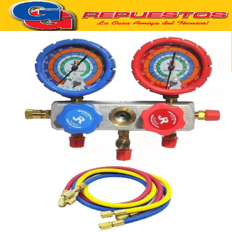 MANIFOLD ALUMINIO R22-404A-134A-410A CON PROTECTOR Y VISOR PARA TODOS LOS GASES