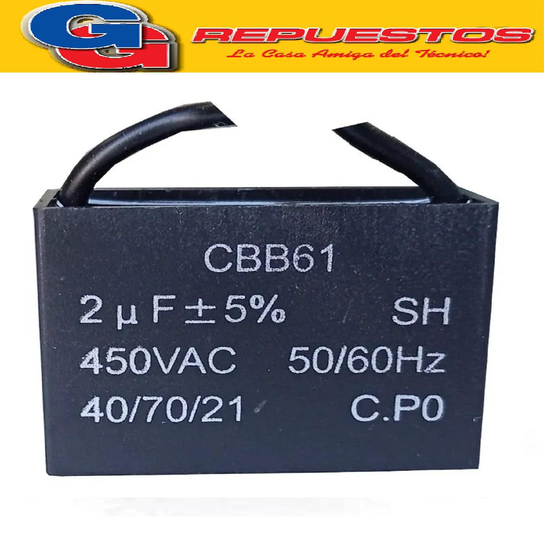 CAPACITOR 2uF X450V CUADRADO C/CABLES