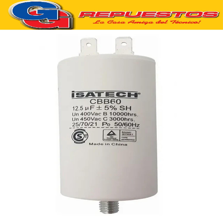 CAPACITOR 12.5uF CILINDRO C/TORNILLO (ISATECH)