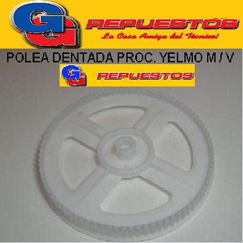 POLEA DENTADA PROCESADORA YELMO MODELO VIEJO DIAMETRO TOTAL 144 mm , DIAMETRO ENGRANAJES 139 mm , ALTO 10 mm, DIAMETRO DEL EJE 9.80 mm