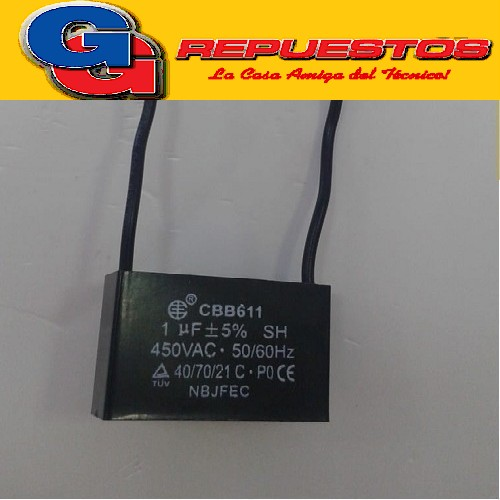 CAPACITOR 1uF X 450V CUADRADO C/CABLES EPCOS PARA VENTILADOR