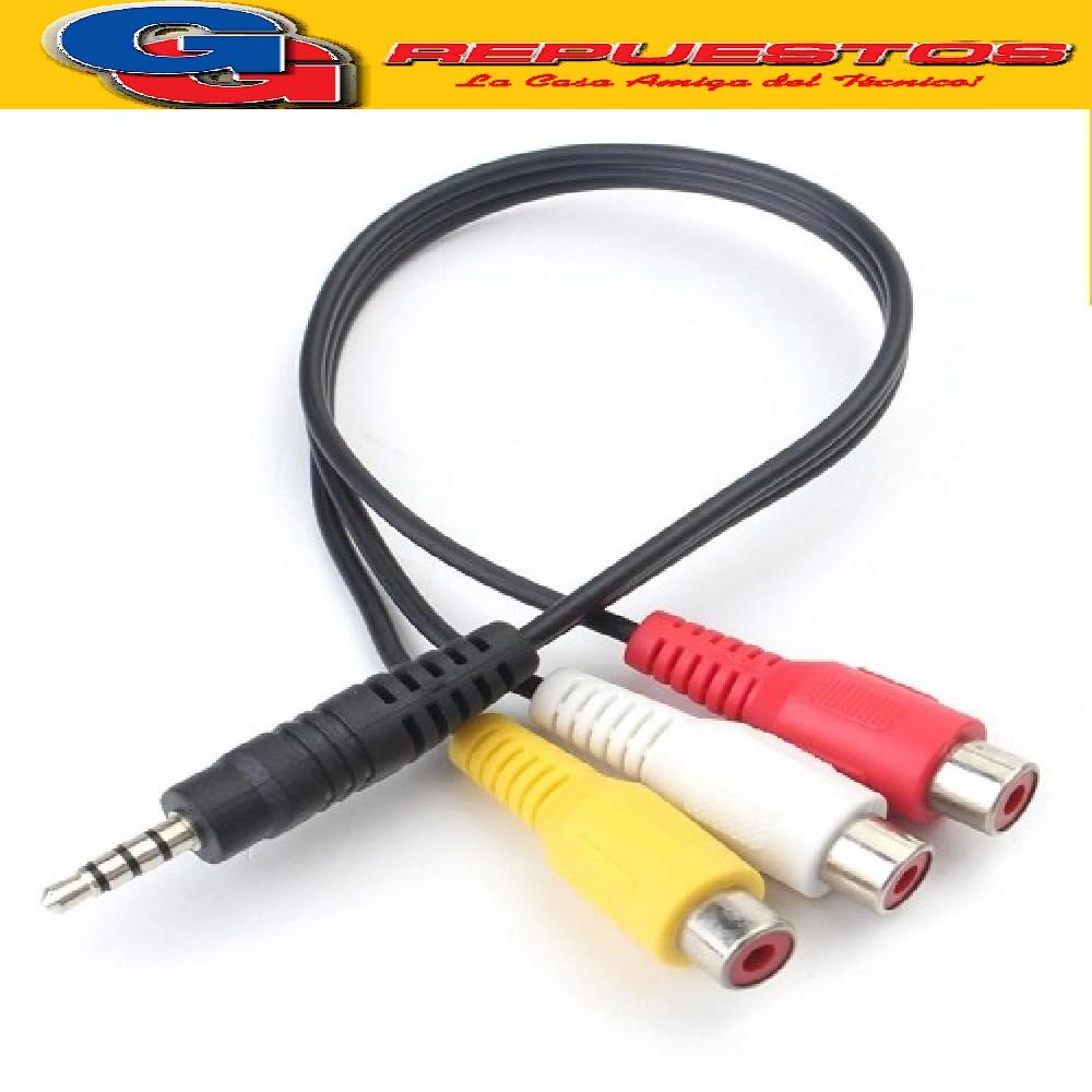 CABLE AUXILIAR PLUG/JACK/RCA (ESTEREO/VIDEO) 3.5M A 3RCA HEMBRA - CORTO -   ENTRADA AUDIO Y VIDEO LCD LED SMART