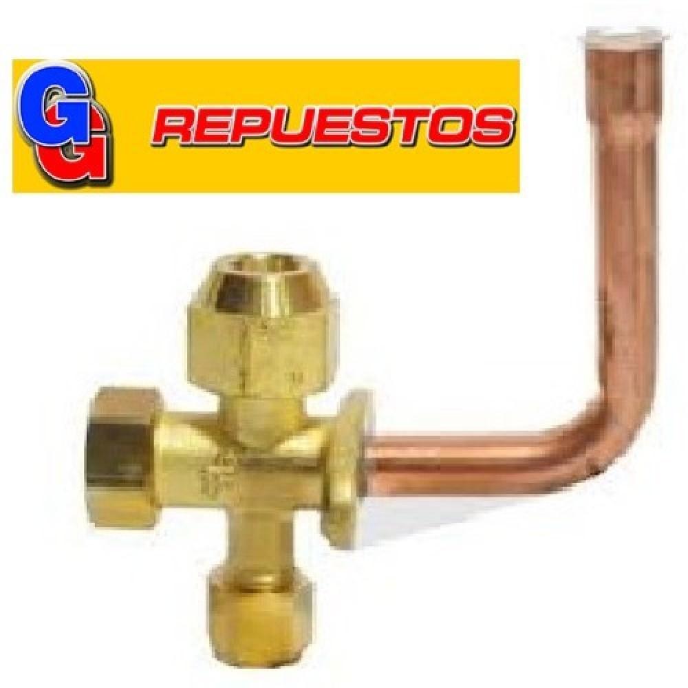 ROBINETE LLAVE SERVICIO PARA SPLIT 1/2 EN BRONCE CON VALVULA DE CARGA CURVA R22