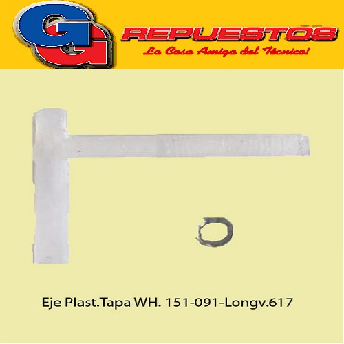 BISAGRA/EJE PLASTICO P/TAPA INTERIOR WHIRLPOOL AWG151 -AWG152-AWH091/N.Est.-LONGVIE 617-COVENTRY 400 (PERNO CON FORMA DE T )