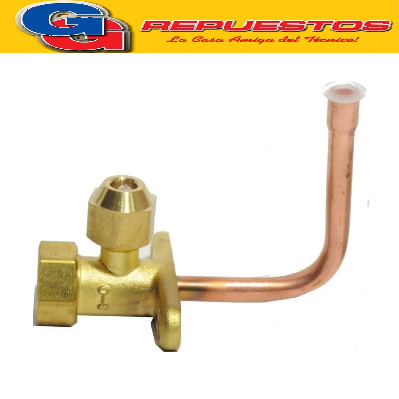 ROBINETE VALVULA LLAVE SERVICIO PARA SPLIT 1/4 EN BRONCE CURVO PARA R22 Y R410. SPLIT