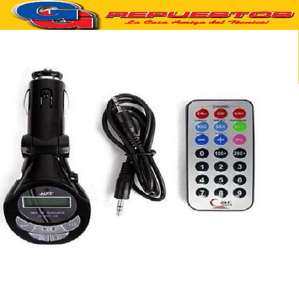 ADAPTADOR MP3 USB TARJETA DE MEMORIA PARA AUTO MP3FM (TRANSMISOR FRECUENCIA MODULADA)