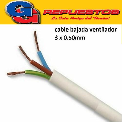 CABLE TPR 3 X 0.5mm (ENVAINADO BLANCO) BAJADA MOTOR VENTILADOR FLEXIBLE