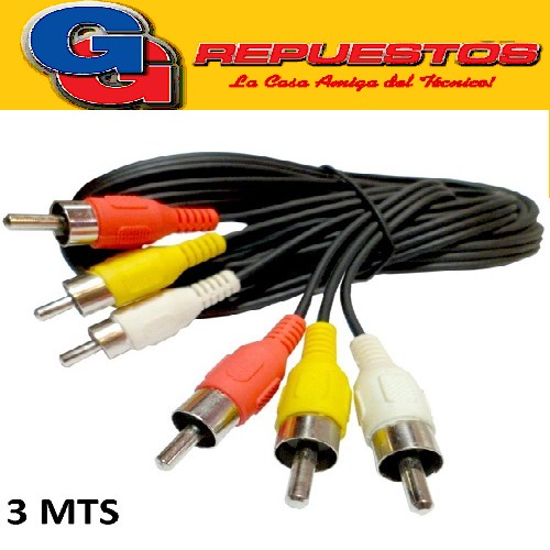 CABLE AUDIO/VIDEO 3RCA MCHO 2.8MTS