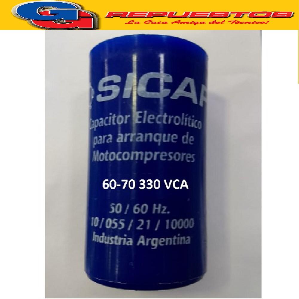 CAPACITOR ARRANQUE SICAP 60-70 330 VCA