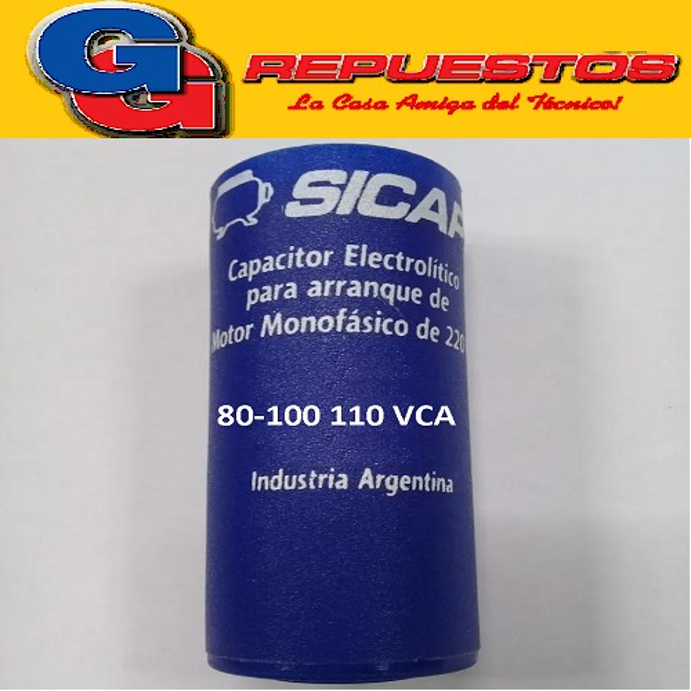 CAPACITOR ARRANQUE SICAP 80-100 110 VCA