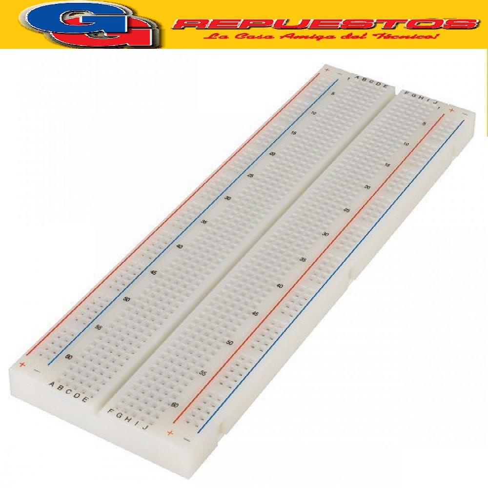 PLAQUETA PARA EXPERIMENTACION PROTOBOARD 1 TERMINAL  630 CONTACOTOS , 2 DISTRIBUIDORES 200 CONTACTOS , TOTAL  830 CONTACTOS