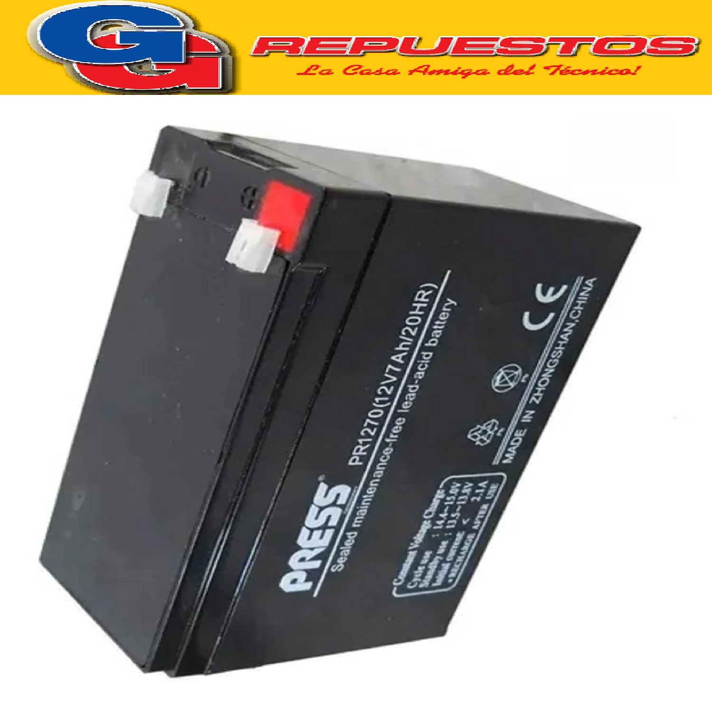 BATERIA RECARGABLE 12V-7A NEATA  Largo:151MM Ancho:65MM Altura:94MM Tipo de conector: FO-01