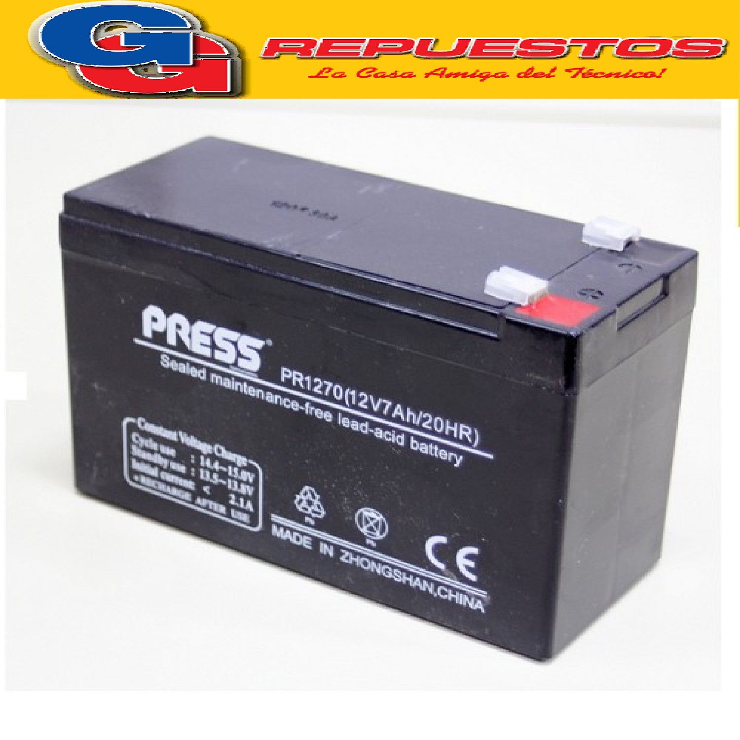 BATERIA RECARGABLE 12V-7A NEATA  Largo:151MM Ancho:65MM Altura:94MM Tipo de conector: FO-01