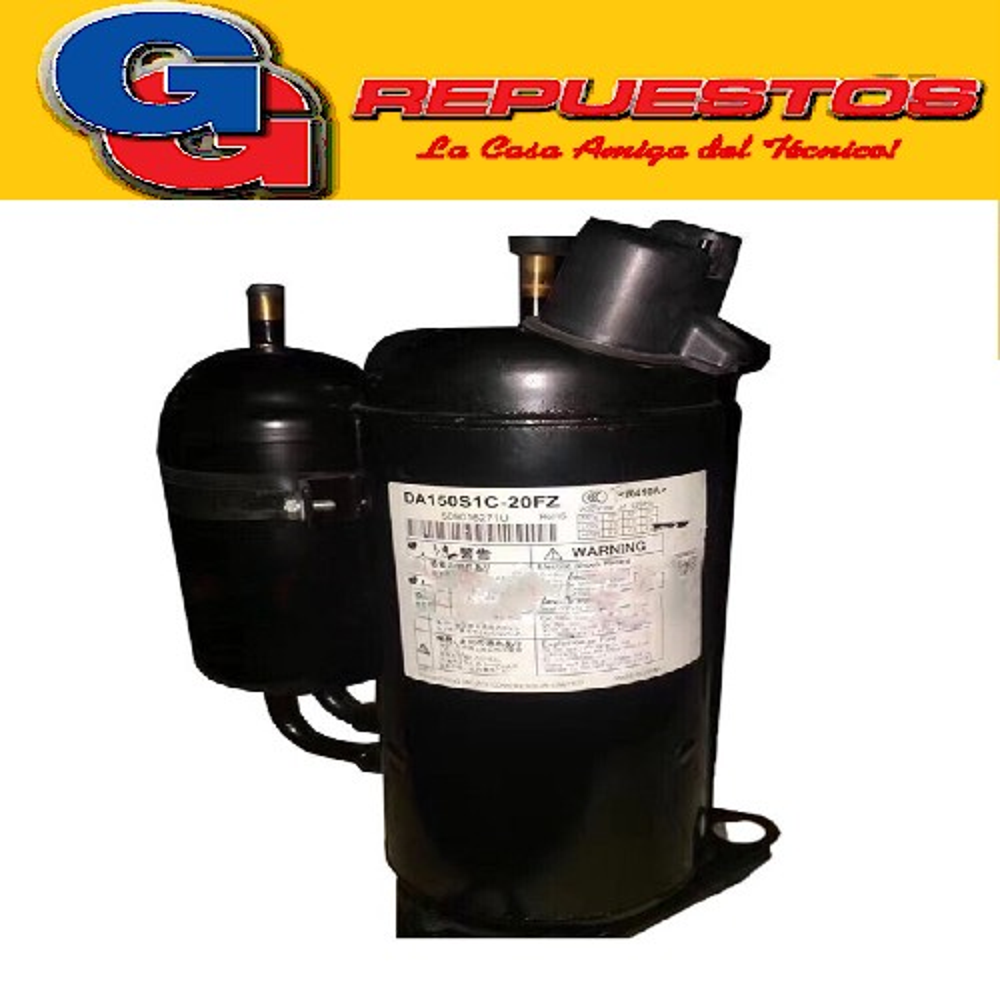 COMPRESOR ROTATIVO INVERTER 4000 FRIGORIAS R410A GMCC TOSHIBA  DA150S1C-20FZ 2hp toshiba dc inversor aire acondicionado compresor Especificaciones: Desplazar. (cm3/rev): 15.0 Capacidad (W): 4490 Capacidad (BTU/h): 15320 Energía (W): 1145POLI (W/W): 3.90 ALTO TOTAL 279 mm da150s1c-20fz