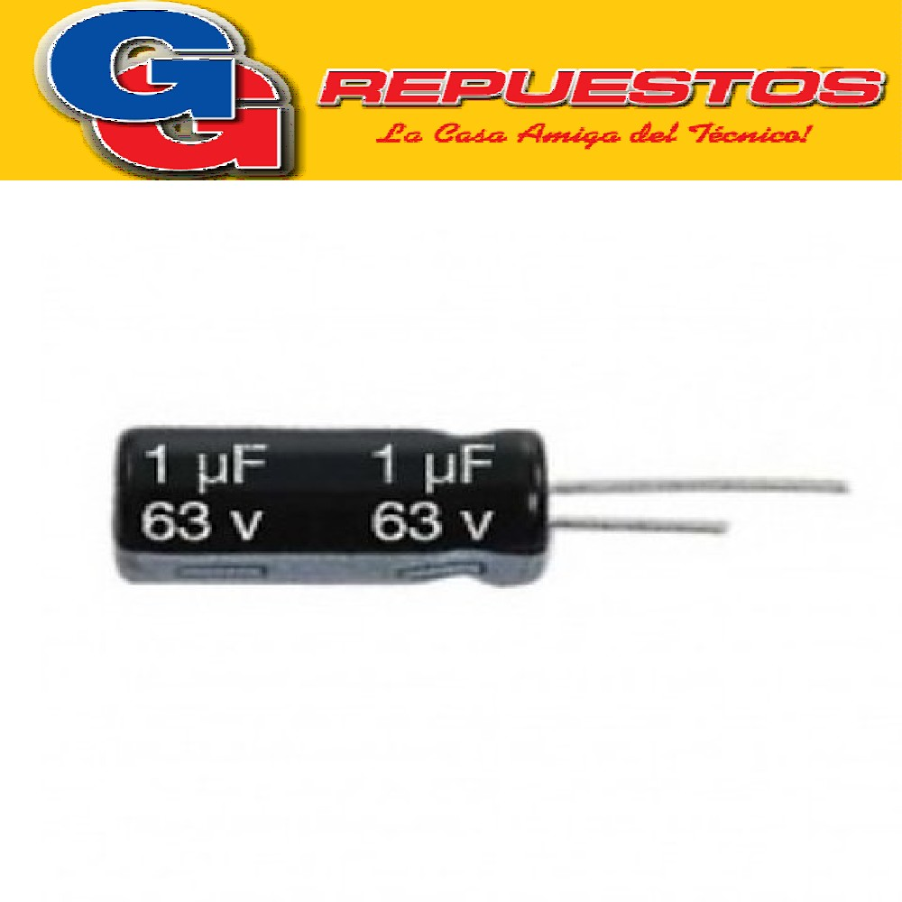 CAPACITOR ELECTROLITICO 1uFX63V PATAS CORTAS