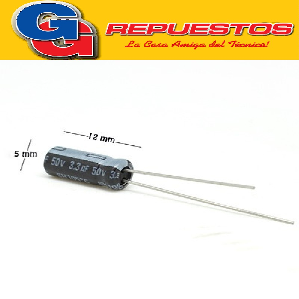 CAPACITOR ELECTROLITICO 3.3uFX50V PATA CORTA