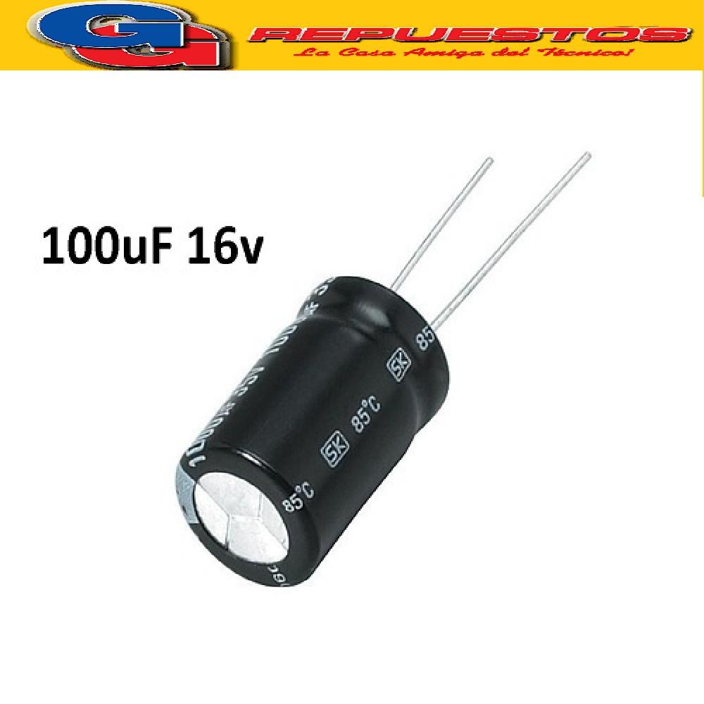 CAPACITOR ELECTROLITICO 100uFX16V PATA LARGA