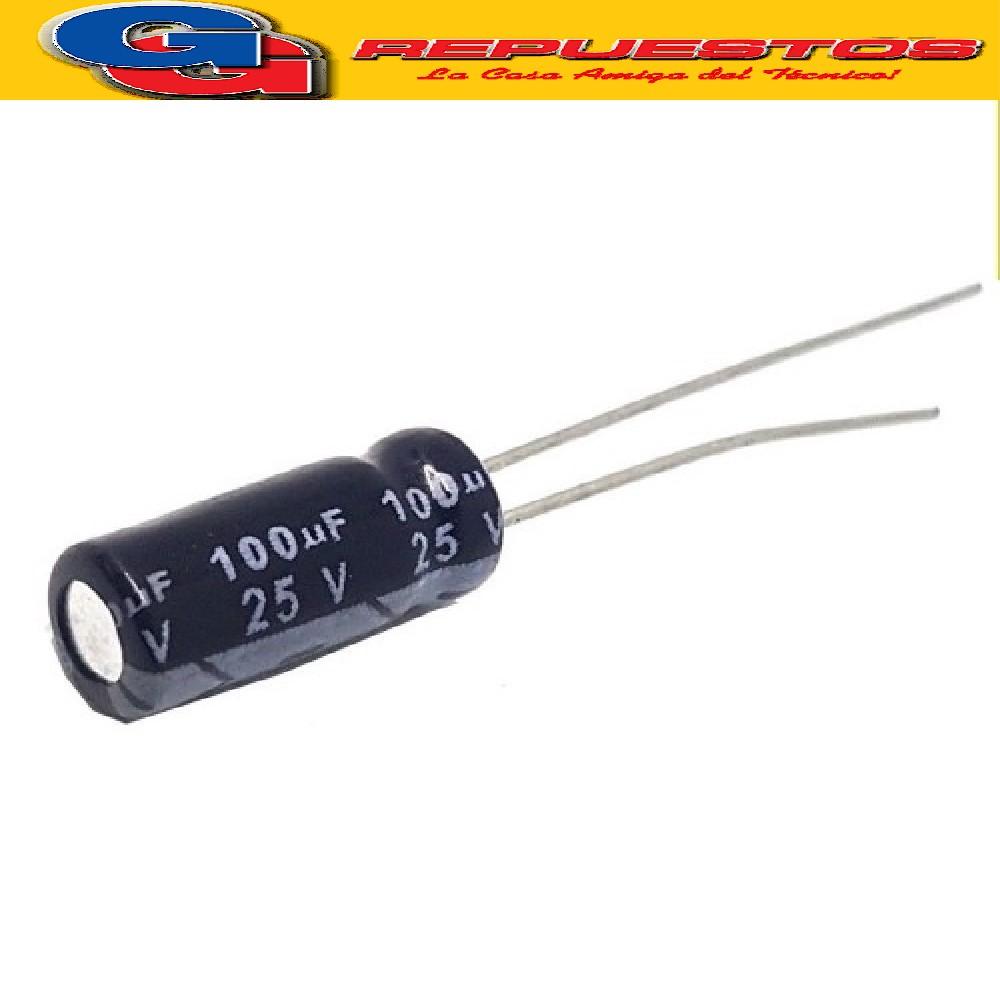CAPACITOR ELECTROLITICO 100uFX25V PATA LARGA