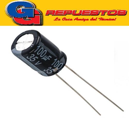 CAPACITOR ELECTROLITICO 100uFX35V PATA LARGA
