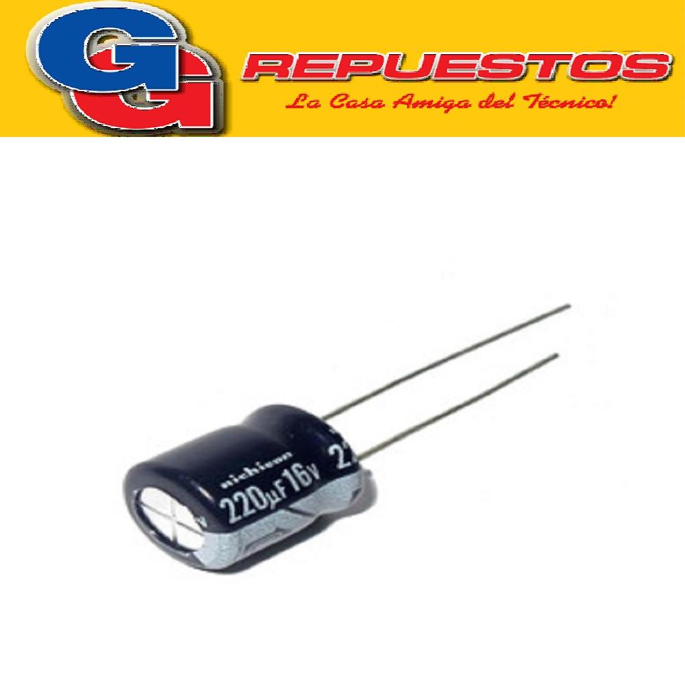 CAPACITOR ELECTROLITICO 220uFX16V PATA CORTA