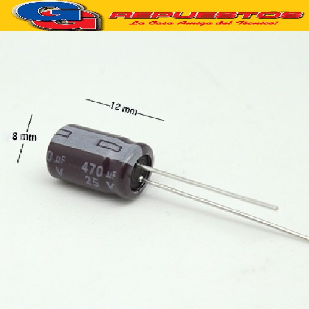 CAPACITOR ELECTROLITICO 470uFX25V PATA LARGA