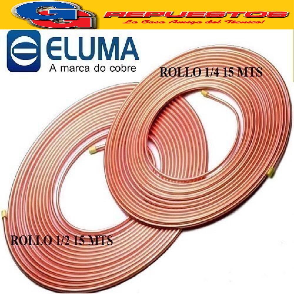OFERTA COMBO CAÑOS DE COBRE ELUMA PARED 0.80 1 ROLLO 15 MTS  1/4 Y 1 ROLLO 1/2 15 MTS