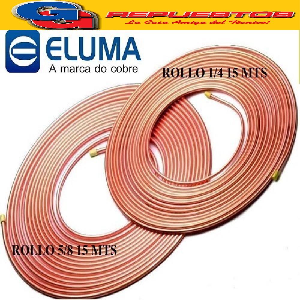 OFERTA COMBO CAÑOS DE COBRE ELUMA PARED 0.80 1 ROLLO 15 MTS  1/4 Y 1 ROLLO 5/8 15 MTS