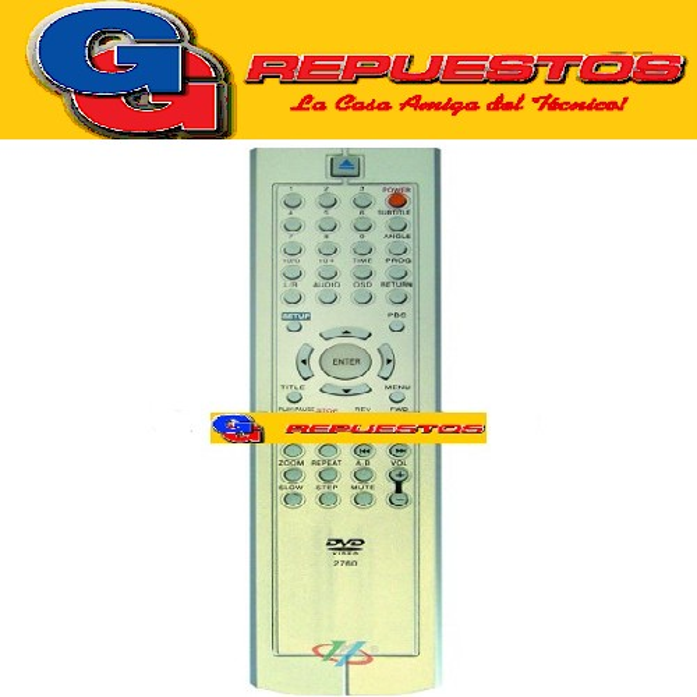 CONTROL REMOTO DVD ADMIRAL/BLAZE/OTRAS(XVIEW) D801-DVD801 (2760)