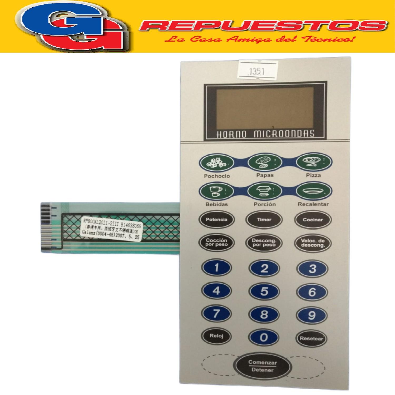 TECLADO MICROONDAS VARIOS MD233 (MO-290) B1463S06S/WP800AL20II-2III GALANZ