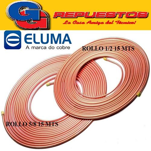 OFERTA COMBO CAÑOS DE COBRE ELUMA PARED 0.80 1 ROLLO 15 MTS 1/2 Y 1 ROLLO 5/8 15 MTS
