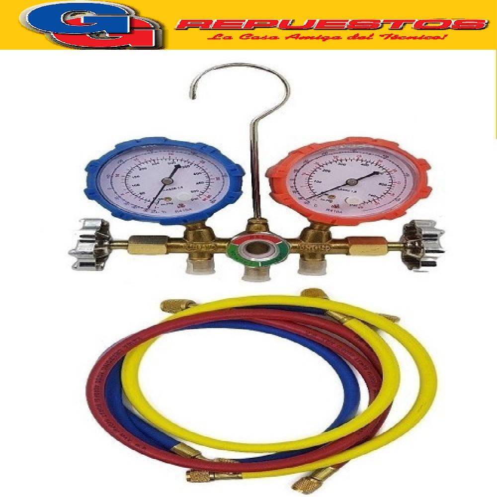 MANIFOLD GAUGE PARA SERVICIO R410 COMPLETO CON MANGUERAS.