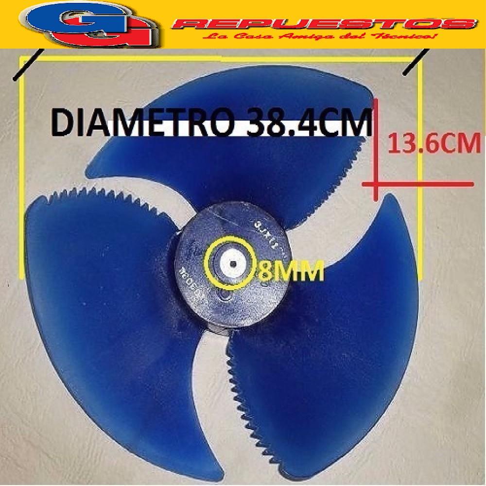 HELICE PALA CONDENSADORA AIRE SPLIT 3 ASPAS SENTIDO ANTI HORARIO DIAMETRO 38.4CM / ANCHO AC0STADA 13.6CM