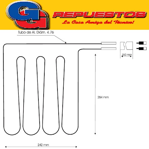 RESISTENCIA DE ALUMINIO HELADERA COLUMBIA CHF2200-C--0503- 220V 9W