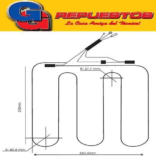 RESISTENCIA DE ALUMINIO HELADERA TIVOLI chica275-0303- 220V 21.5W