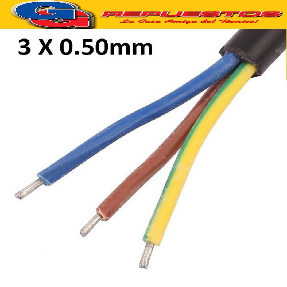 CABLE TPR TIPO TALLER 3 X 0.75 mm POR METRO (ENVAINADO NEGRO)