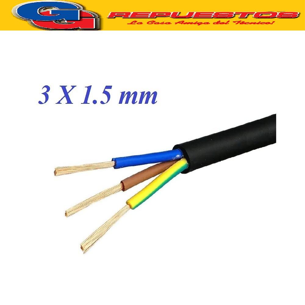 CABLE TPR TIPO TALLER 3 X 1.50mm- POR METRO (ENVAINADO NEGRO)