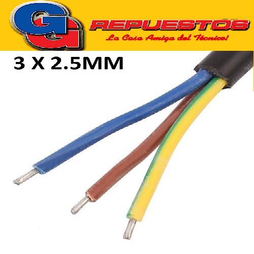 CABLE TPR TIPO TALLER 3 X 2.50mm- POR METRO (ENVAINADO NEGRO)
