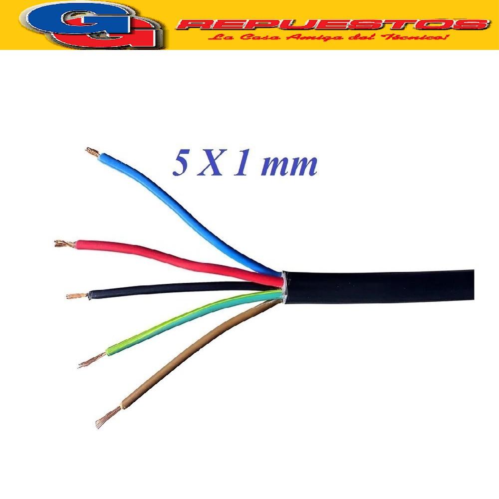 CABLE TPR TIPO TALLER 5 X 1.00mm POR METRO (ENVAINADO NEGRO)