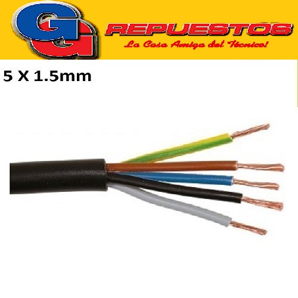 CABLE TPR TIPO TALLER 5 X 1.50mm-POR METRO (ENVAINADO NEGRO)