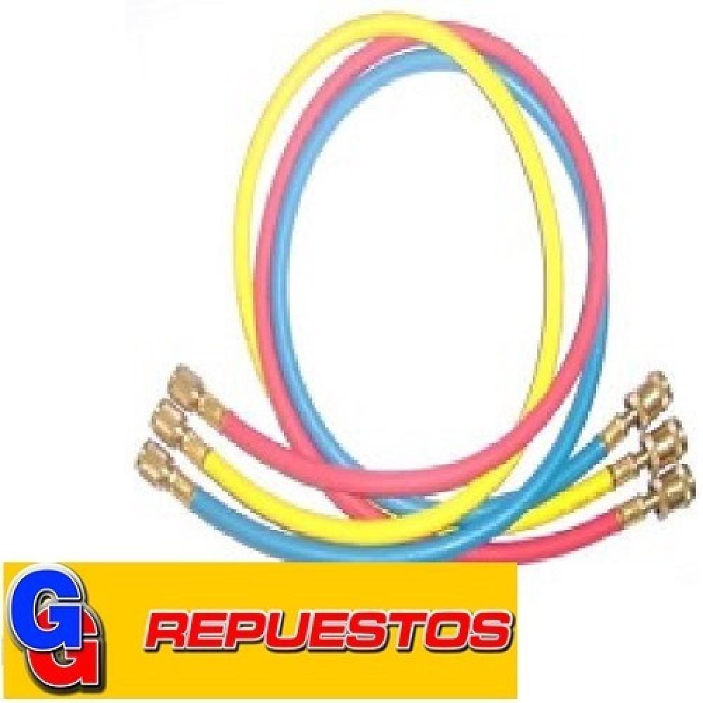 JUEGO MANGUERAS MANIFOLD REFORZADA 3 X 90cm R22 c/valvula-BlueStar
