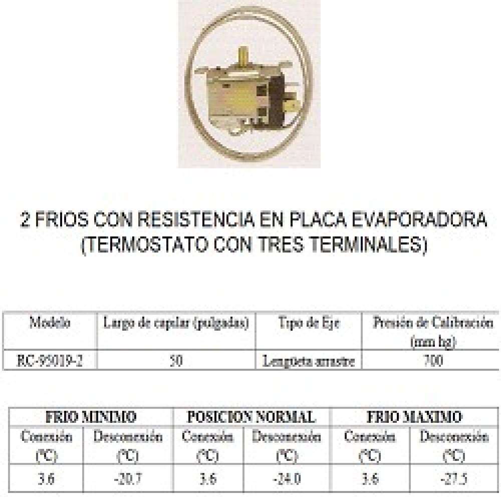 TERMOSTATO HELADERA BlueStar-RC 95019-2--Tipo TF9-482 2 FRIOS CON RESIST EN PLACA EVAPORADORA 3 CONTACTOS EJE REDONDO (+3.6-20.7_-24_-27.5) CAP 1.27M
