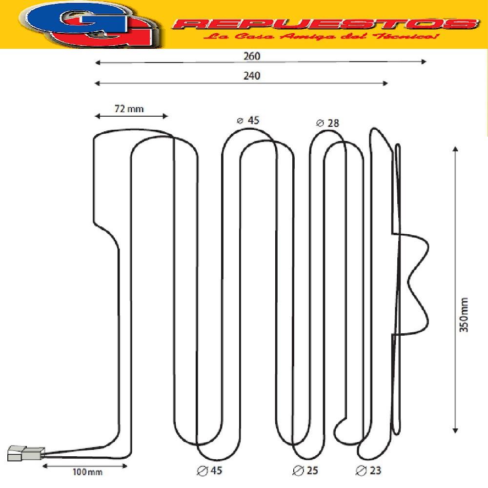 RESISTENCIA HELADERA NO FROST(B310)-ELECTROLUX B400 220V 250W