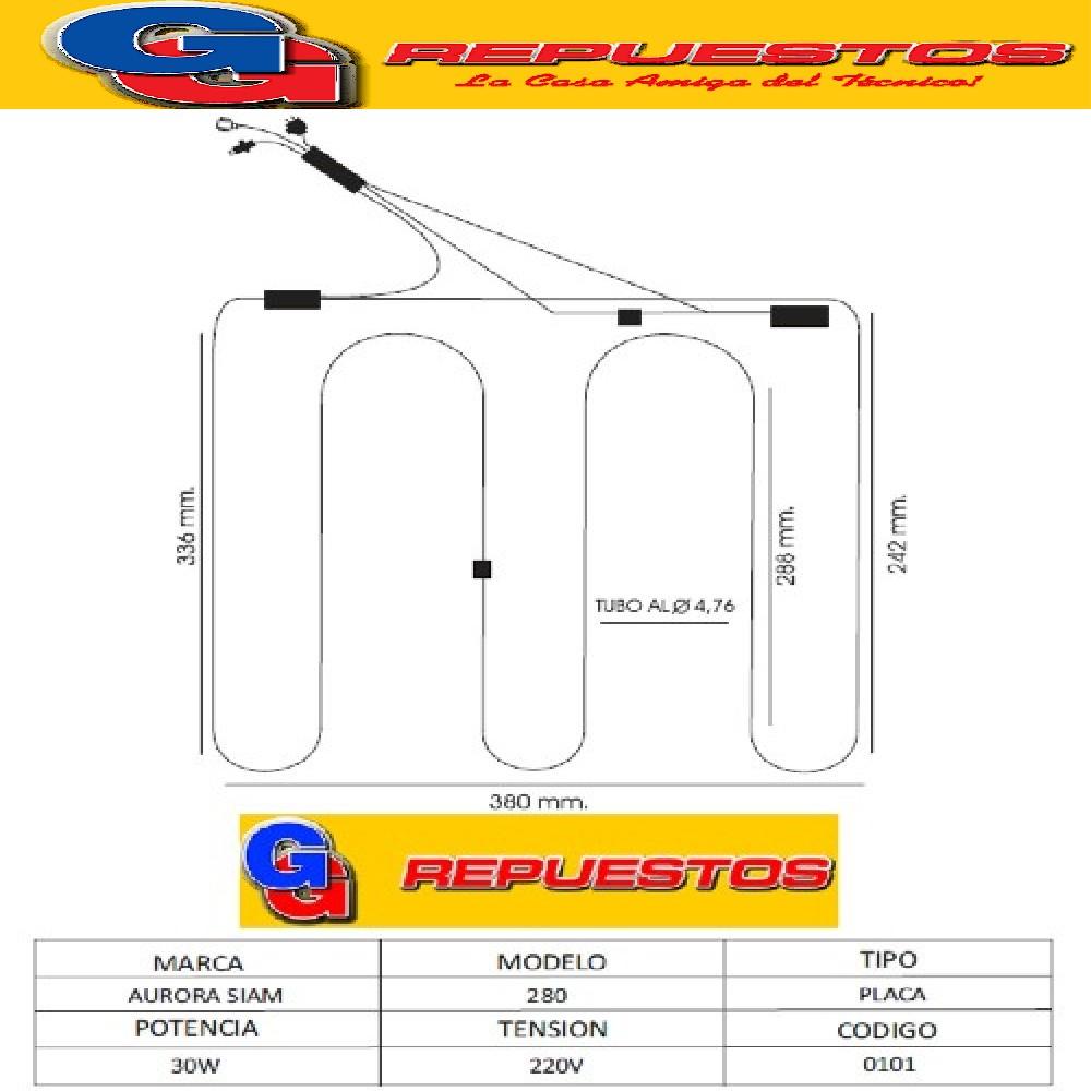 RESISTENCIA ALUMINIO HELADERA .AURORA/SIAM-280-------0101-- 220V 30W